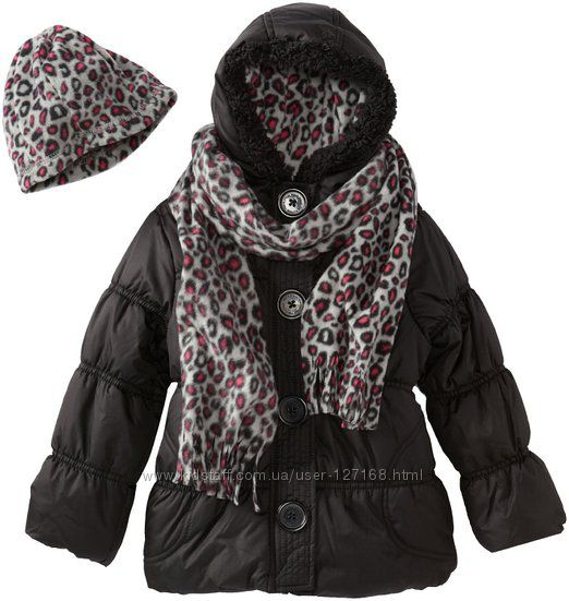 Теплый комплект Pink Platinum - куртка шапка шарф, размер 4