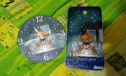набор доска разделочная и часы на кухню