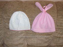 Симпатичная шапочка с ушками зайчика, на 3-4 года, белая в подарок