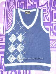 Жилет вязанный, синий, размер 116