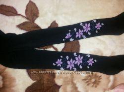 Колготки новые теплые черные с розовыми цветами махровые