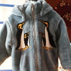 Шубка искуственнаяс пингвинами