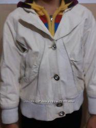 Куртка демисезонная кожзам на утеплителе с вязаным капюшоном