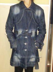 Плащ джинсовый стрейчевый черно-серый