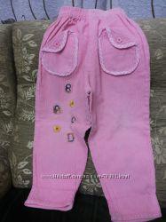 Вельветовые розовые  брюки на 4-5 лет