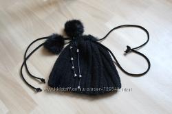 Стильная шапка и велюровые перчатки, натуральный мех, набор