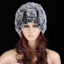 Женская меховая шапка из кролика шиншиллы