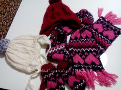 Зимние шапки на флисе на девочку 4-6 лет
