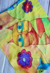 Яркий шарф, ручная роспись, батик, роспись по шелку