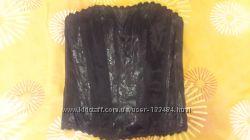 Корсет черный на шнуровке и молнии