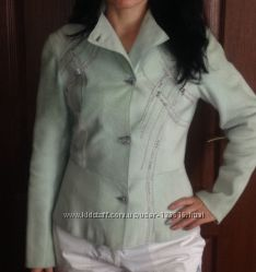 Мятный кожаный пиджак известного турецкого бренда Harmanli кожа ягненка