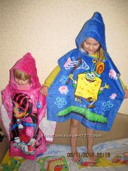 Полотенца с капюшоном - Пончо. Для девочек и мальчиков. В наличии.