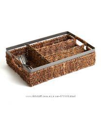 Натуральная плетеная секция для хранения столовых приборов