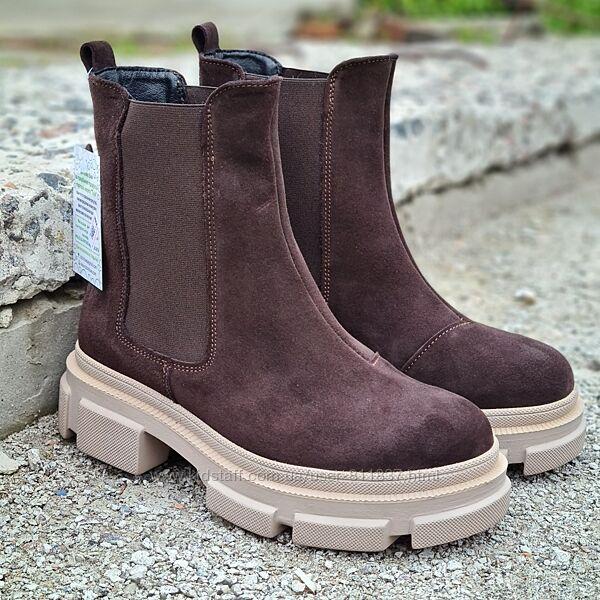 Замшеві підліткові зимові ботинки 36-40рр. Арт/292 коричневі