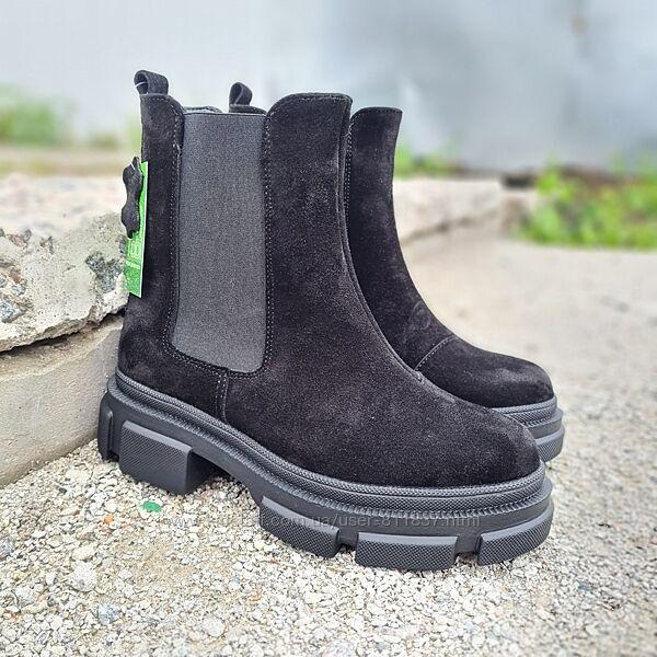 Замшеві підліткові зимові ботинки 36-40рр. Арт/292 чорні