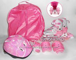 Детские ролики. Супер набор с защитой шлемом и сумочкой. Колеса по 2 в ряд