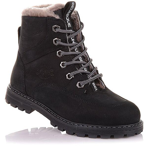 Зимние ботинки из нубука на шнурках и молнии  для мальчиков 31-36 р-р 11.4.392