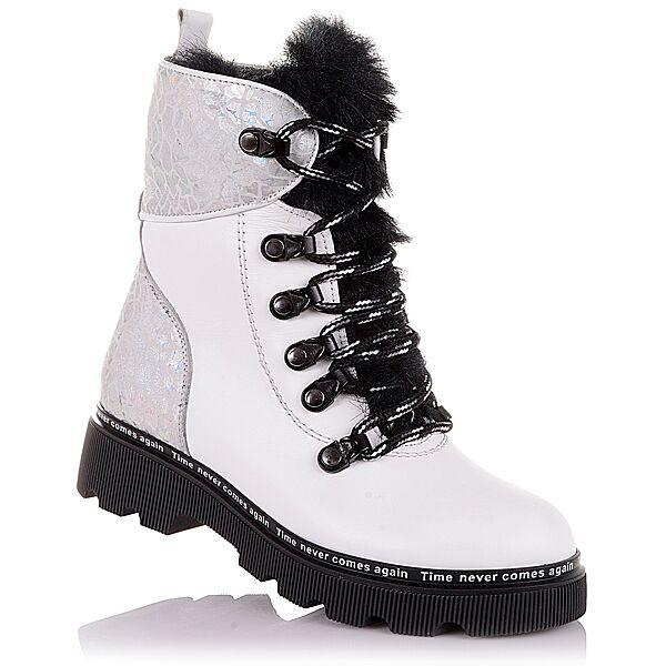 Белые зимние ботинки из кожи и нубука  для девочек 31-36 р-р 11.4.388