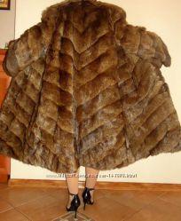 Красивая длинная шубка , коричневая - полевая норочка, сурок 46-52р.
