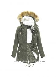 Женская куртка парка цвета хаки