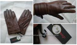 Дорогие кожаные перчатки из США, чёрные , коричневые, красные
