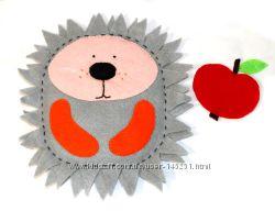Ежик-нашивка с яблочком для костюма ежика