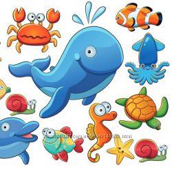 Фетр с рисунком Морские жители
