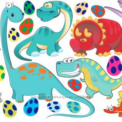 Фетр с рисунком Динозаврики