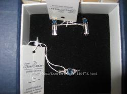 Серьги и кольцо из родированого серебра с лондон топазом