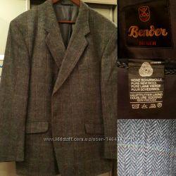 Солидный пиджак елочкой шерсть XL