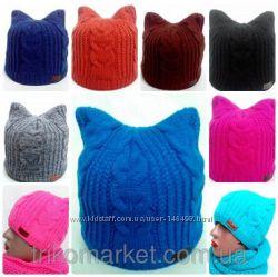 Зимние шапки с кошачьими ушками