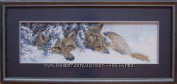Продам картину вышитую крестиком Волки