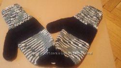 Варежки вязаные в 2 нитки