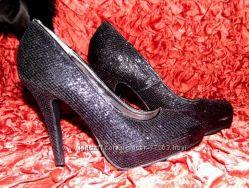 Туфли черные блеск каблук