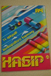 Цветной картон 14 листов. ТМ Тетрада. Бесплатная доставка по Киеву