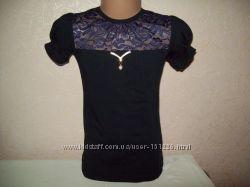 Блузы с коротким рукавом для садика и школы