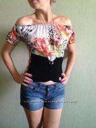 Брендовая яркая летняя блуза-топ Cavalli Оригинал рС  дешево