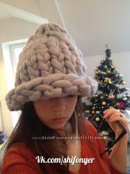 шапка из объемной толстой пряжи 100 шерсть мериноса