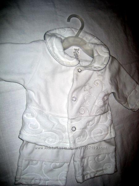 Бемби белый велюровый костюм 3-6 мес.