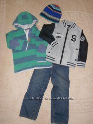Комплект-джинсы, реглан, бомбер, шапка в подарок на 3-4 года