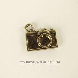 Кулоны металлические Сердце со стрелой, Фотоаппарат, Часы