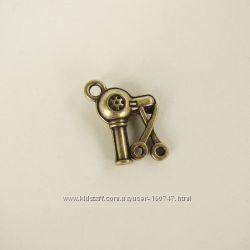 Кулоны металлические Фен и ножницы, Телефон, Ножницы