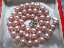 Скидка. Ожерелья из крупного жемчуга 10 мм. Цвет лаванда - нежно сиреневый
