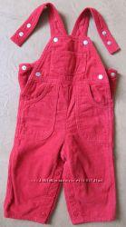 BENETTON комбинезон брюки штаны вельвет красный на девочку 9 мес66см