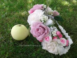 Ободочки розочки с калиной и чайные розы