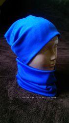 Трикотажные шапочки с напуском и шарфы-хомуты для детей и взрослых. Разные