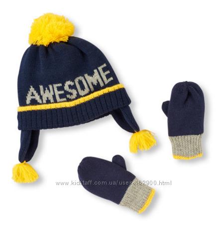Набор шапка и перчатки childrensplace для мальчика 2-3т, 12-24м