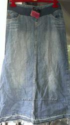 Джинсовая юбка макси для беременных Mothercare S-M