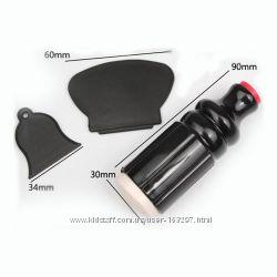 Набор для стемпинга с большим силиконовым штампом и двумя скребками