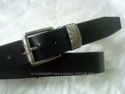 Стильный черный кожаный ремень ARMANI. Длина 120 см